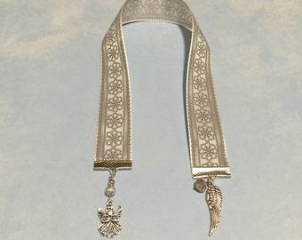 Angel Bookmark~Memorial Angel Wing Bookmark-Christmas Angel Bookmark-Ribbon bookmark-Remembrance In Memory-Christmas bookmark-sympathy gift