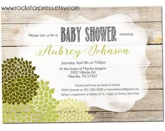 Gender neutral Baby Shower Invitation, Green Shower Invite, Digital File,  PRINTABLE _1285