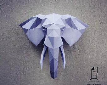 Papercraft elephant head 2 - printable DIY template