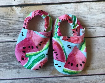 Watermelon Summer baby shoes - blue - baby moccs - moccasins - baby booties - crib shoes - summer baby - baby gift -  baby shower gift