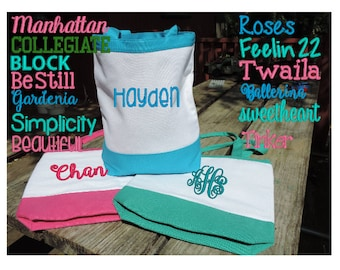 """Beach Tote Bag, Canvas Pool Bag, Swimming Bag - Personalized EMBROIDERED or VINYL - Extra Roomy, 3 Colors, 14""""x15"""" with flat bottom"""