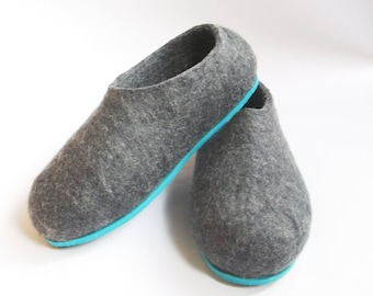 Customized Mens Felted Slippers dark gray, Mens House Slippers, House Wool Shoes, Wool Felted Clogs, Husband Gift, 7 Color Rubber Soles