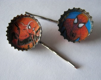 Amazing Spiderman/ Bottle Cap/ Bobby Pins/ Hair Pins/ Hair Clip/Marvel
