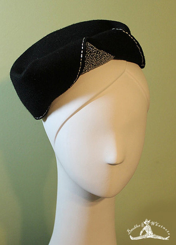 Women's Black Wool Hand-beaded Sculptural Hat - 1930s 1940s Style Black Wool Women's Hat - Medium - OOAK