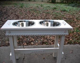 Elevated Dog Feeder, Raised Dog Bowl, Dog Food Stand, Feeding Stand, Wood Dog Bowl Stand, Stainless Bowls,  Made to Order