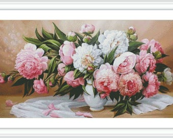 Peony Counted Cross Stitch Pattern - Large Cross Stitch Chart - Floral Cross Stitch - Cross Stitch Flower Vase - Cross Stitch Peonies - PDF