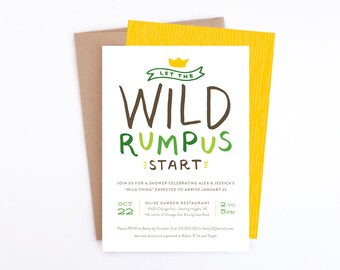 Baby Shower Invitation - Let the Wild Rumpus Start - Where the Wild Things Are