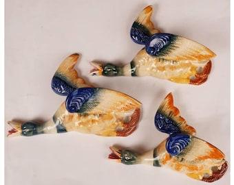 Vintage 1950s Wall Pockets Flying Mallard Ducks - MIJ Ceramic