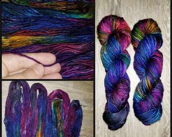 Lalotai - Hand dyed - SW Merino DK Single Ply 240 yards 100g - knitting crocheting weaving quick knit - purple rainbow blue red brown vivid