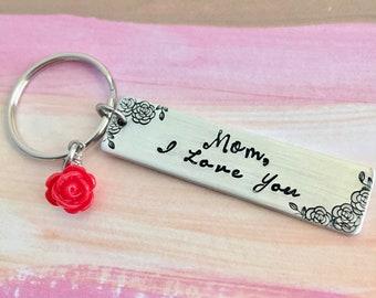 Maman, j'aime vous porte-clés ~ cadeau fête des mères, cadeau maman, Roses