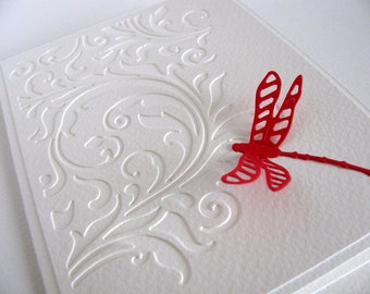 Swirly Cut Design Layer on Creamy Ivory Card / Single Dragonfly in YOUR Choice of Color with Option to Add Pearl Accent Accents