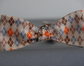 Orange and Browns in Argyle  Bow Tie