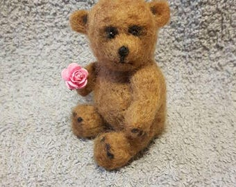 BENJAMIN,needle felted,mohair,teddy bear,minature,