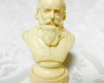 Antike Brahms Statue Büste Kunststoff Komponist Reisen Musiker Inspiration