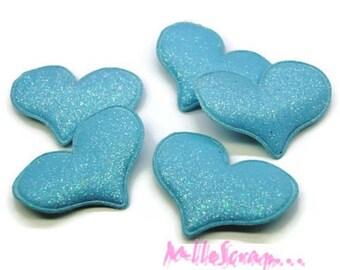 Set of 5 hearts blue fabric effect glitter embellishment scrapbooking (ref.310) *.