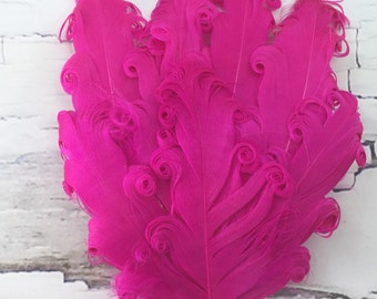 One Curly Nagorie Feather Pad, Feather Pad, Bridal Feather, Curly Feather Pad, Shocking Pink