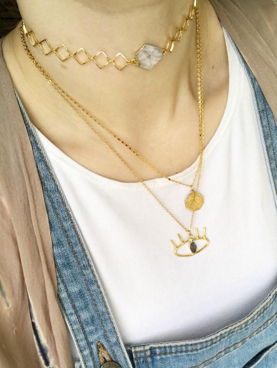 Roxanne Choker // quartz point diamond chain choker necklace