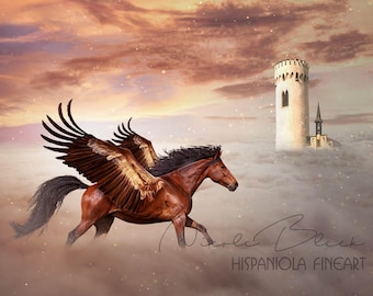 Pegasus, premade Backdrop, Castle Background, Horse Backdrop, Horse with wings, Photoshop Background, Fantasy Backdrop, Animal Backdrop