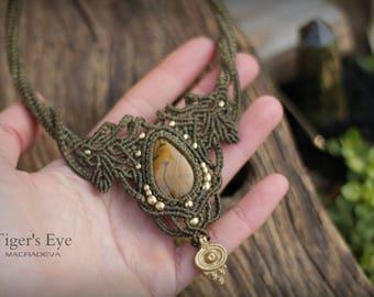 Tiger's Eye Macrame Necklace Boho Gypsy