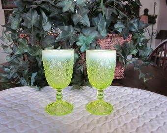 Vintage Pair Of Opalescent Vaseline Glass Juice Glasses