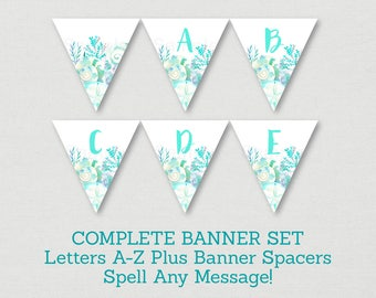 Nautical Beach Bridal Shower Banner / Seashell Bridal Shower / Watercolor Seashells / Nautical Banner / Letters A-Z / INSTANT DOWNLOAD B103