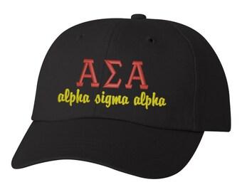 Alpha Sigma Alpha hat ASA cap Alpha Sigma Alpha letters sorority hat big little sorority hat sorority gift big little gift