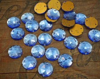 Vintage Sew On Rhinestone Two Hole Faceted Glass Sew On Beads 15mm Sapphire Blue Shabby Chic Rustic (6) R28