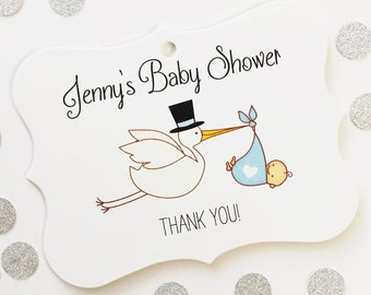 Baby Boy Shower Tags, Stork Baby Shower Tags, Baby Favor Tags, Favor Tags  (EC-032)
