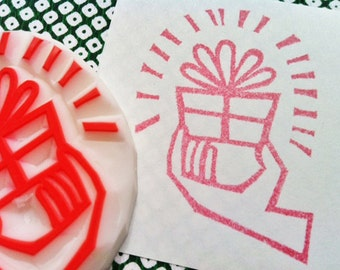 for you rubber stamp | present stamp | diy birthday christmas wedding gift wrapping | packaging mailing | hand carved by talktothesun