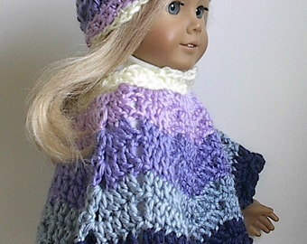 18 Inch Doll Clothes - Crocheted Poncho Set in Blue, Lavender, Cream Stripes made to fit the American Girl Doll