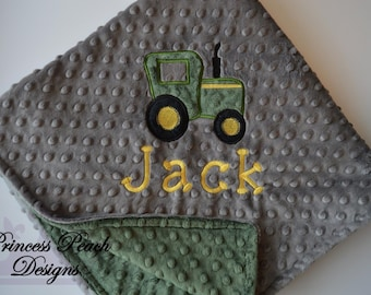 Tractor Blanket, Personalized Baby Blanket, Personalized Tractor Blanket, Personalized MInky Blanket, Minky Tractor Blanket, Custom blanket