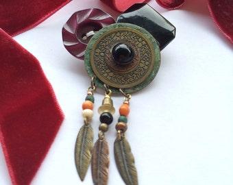 Metal Dream Catcher with Merlot Vintage Button Cluster Brooch