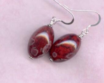 Burgandy Oval Glass Sterling Silver Earrings