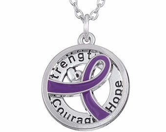 Purple Ribbon Necklace, Strength Courage Hope Pendant, Purple Spirit Day Honor Ribbon, Survivor Charm, Awareness Ribbon Jewelry Symbol Gift
