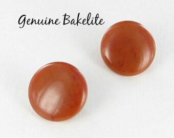 Genuine Bakelite Butterscotch clip back vintage earrings - tested