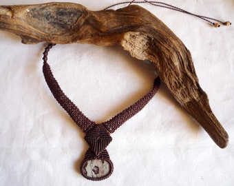 brown macrame necklace with jasper stone