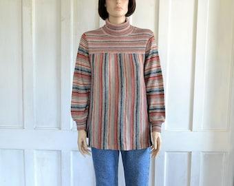 70s Hippie Sweater Striped Tunic Top Boho Turtleneck Sweater