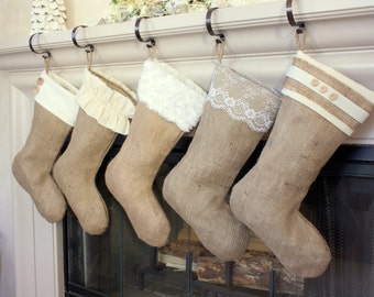 Burlap Christmas Stockings / Classic Cream Line / Set of Five (5) Burlap Stockings / Personalized and Custom