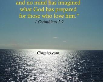 Ocean with 1 Corinthians 2:9  (8x10)