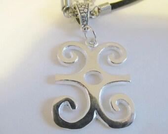 The Ram's Horns - Silver-Plated Adinkra Symbol - DWENNIMMEN - The symbol of imperishability & endurance) pendant on a Vinyl-Coated Necklace