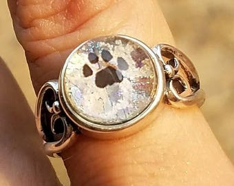 Paw Print Cremation Jewelry Ring Size 7, 8 Ashes InFused Glass Sterling Silver Heart Band Memorial Pet Urn Stone 10mm