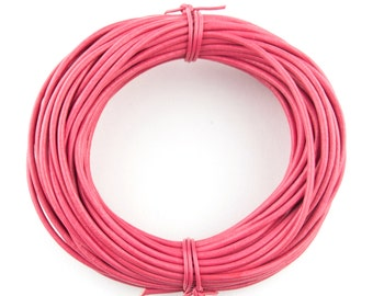 Pink Round Leather Cord 1mm, 25 meters (27 yards)