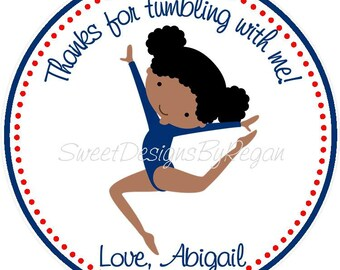 Gymnastics Favor Tags ( African American Design) - Set of 12 / Gymnastic Birthday Party Favors / Red White and Blue Gymnastic Favors
