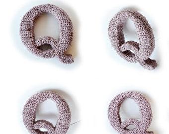 Letter Q Crochet Pattern, 3D Alphabet crochet pattern, 3d words pattern, 3d letters pattern, words home deco, decorative letters crochet