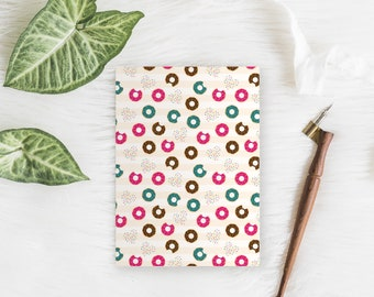 Small 5x7 lined notebook //Donuts! // cute food  // 48 lined pages