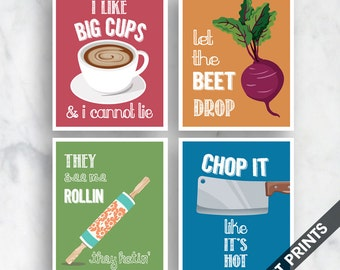 Big Cups, Beet Drop, Rollin, Chop it (Funny Kitchen Song Series) Set of 4 Art Prints (Featured in 13, 16, 18, 7) Kitchen Art