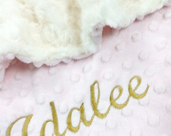 Pink, Ivory and Gold Baby Blanket, Personalized Blanket Ivory Swirl Minky Baby Blanket with Pink Dot Minky Back Stroller Size
