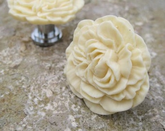 Drawer Knobs Peony Flower in Butter Yellow, more COLORS available (RFK02-03)