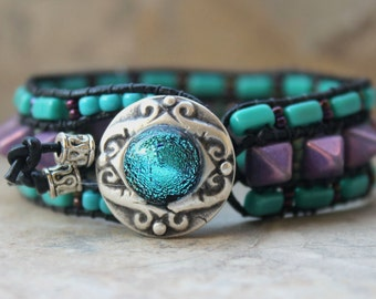 Pyramid Leather Wrap Bracelet Purple and Turquoise