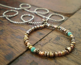 Boho Circle Layering Necklace | Ethnic Hoop Necklace | Mixed Metal Beads | Earthy Rustic Jewelry | Everyday Trendy | Teen Girl Birthday Gift